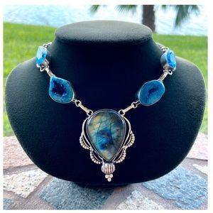 925 Sterling silver Labradorite & druzy necklace